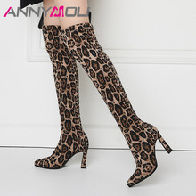 ANNYMOLI Fall Thigh High Boots Women Slim Stretch Extreme Heel Over the Knee Sexy Leopard Tall Shoes Lady Winter 43
