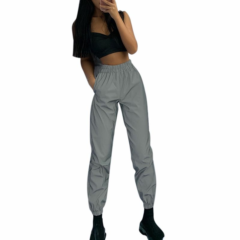 Pants  Women Fashion Beam Pants Reflective Elastic Casual High Waist Hip Hop Streetwear Harem Pants Gray Color Trousers COOL