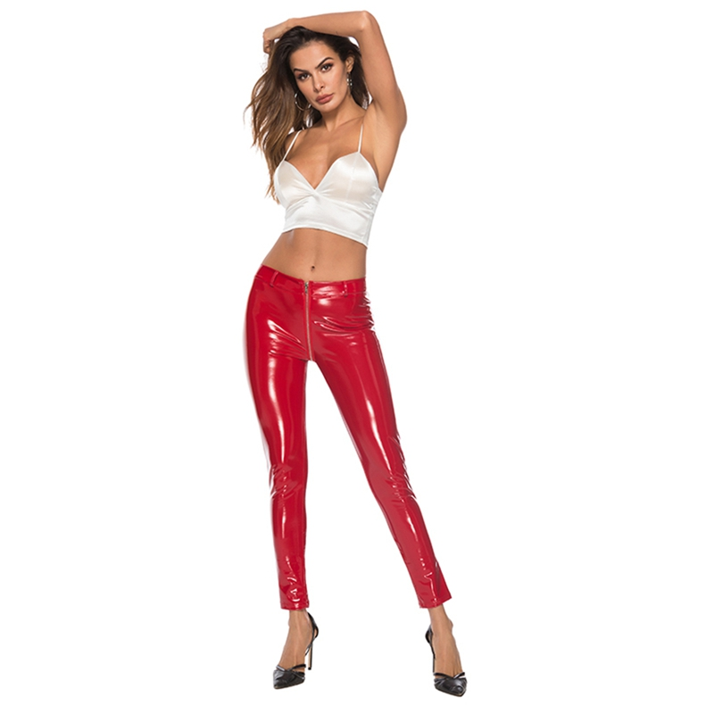 Plus Size Women Sexy Wetlook Faux Leather Lingerie Exotic Pants PU Leggins Latex Catsuit PVC Clubwear Costume Fetish Trousers