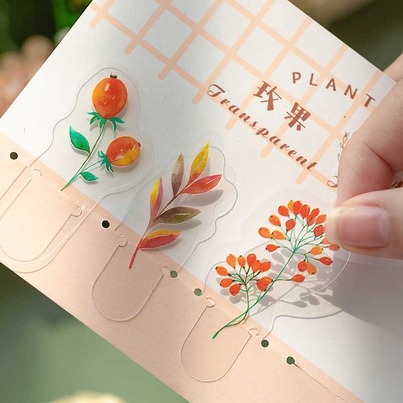 5Pcs Kawaii Plant Stickers Cute Adhesive Decor Stickers PVC Sticker For Kids DIY Scrapbooking Diary Stationery Supplies