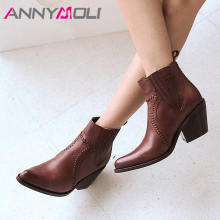 ANNYMOLI Autumn Ankle Boots Women Natural Genuine Leather Strange Style High Heels Short Boots Pointed Toe Shoes Ladies Size 39 plus size italian style man high heels pointed toe rocker punk shoes genuine leather men s cowboy motorcycle ankle boots sl325