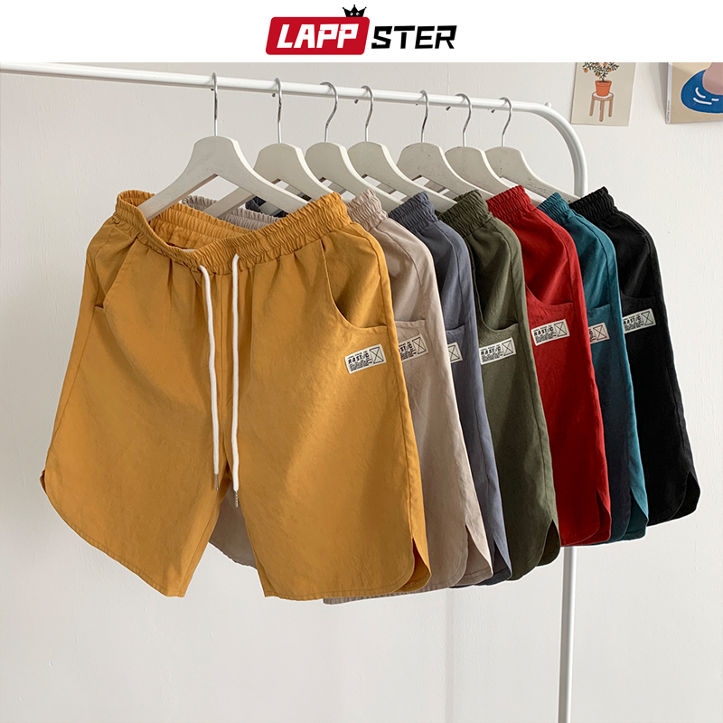 LAPPSTER Mens Colorful Summer Solid Shorts 2020 Plus Size Mens Hip Hop Joggers Sweat Shorts Male Korean Fashions Packag Shorts
