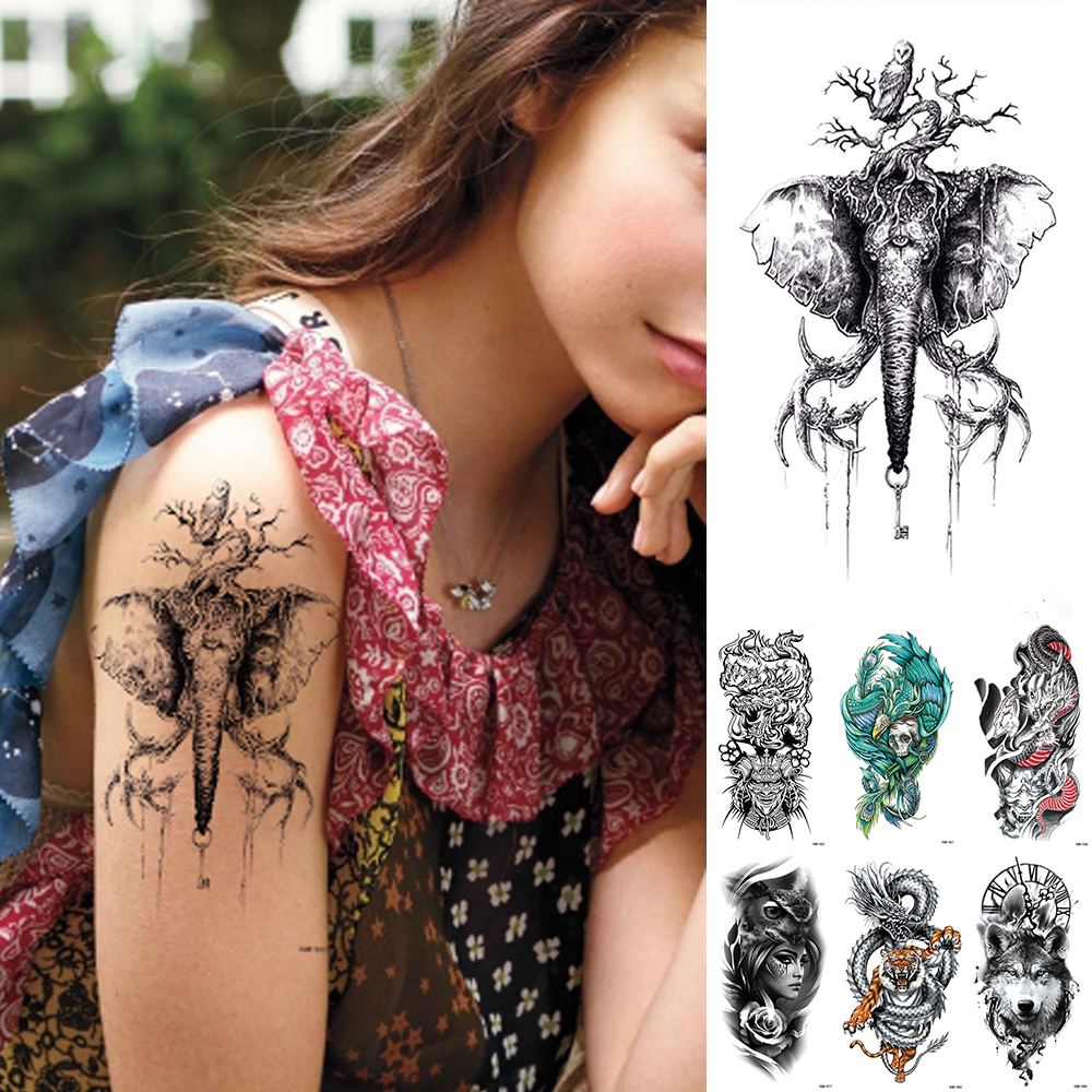 Waterproof Temporary Tattoo Sticker Elephant Japanese Samurai Flash Tattoos Lion Compass Geometry Dragon Body Art Arm Fake Tatoo