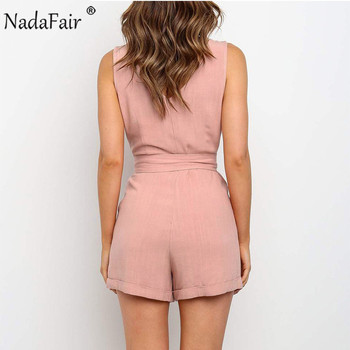 Nadafair Summer Casual Playsuit Women V Neck Belt Tunic Black Orange Pink Solid Overalls For Women Short Jumpsuit 2