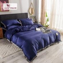 SlowDream Luxury 100% Silk Dark Blue Bedding Set Comforter Duvet Cover Silky Bed Sheet Double Queen King Linen Bedclothes