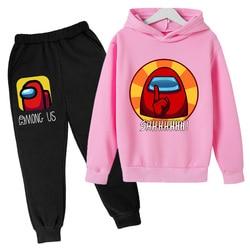 Spring Polyester Cotton Fleece Hoodie + Pants, Hip Hop Super Kids Top, Suit for 4-14 Years Old Girls, Anime Sweatshirt among us