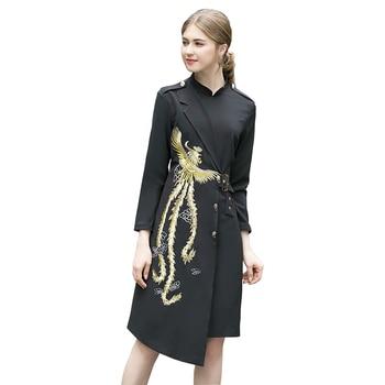 Golden phoenix bordado negro blazer vestido 2020 primavera Año nuevo vestido mandarín cuello manga larga botones vestido irregular venta