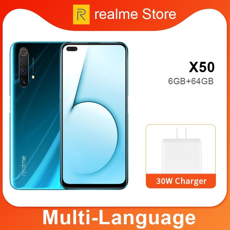 Realme X50 X 50 5G 8GB 128GB 6.57 ''telefon komórkowy Snapdragon 765G octa core 64MP Quad Camera telefon komórkowy VOOC 30W szybka ładowarka