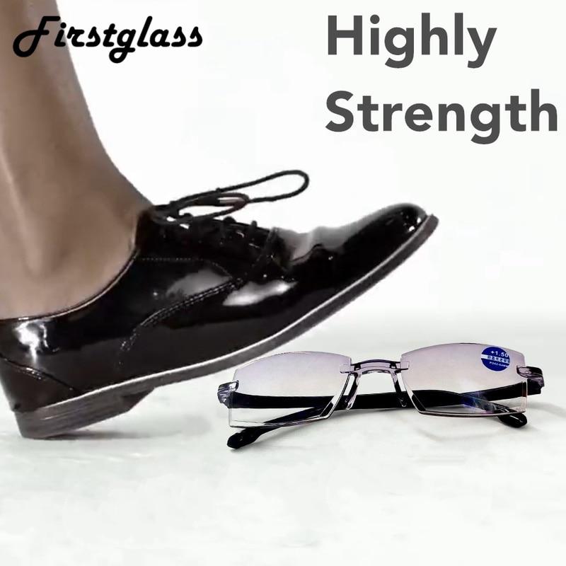 Highly Strength Reading Glasses Men Anti Blue Light Portable Rimless Women Presbyopic Bifocal Glasses Tr90 Gafas Ultra Light 150
