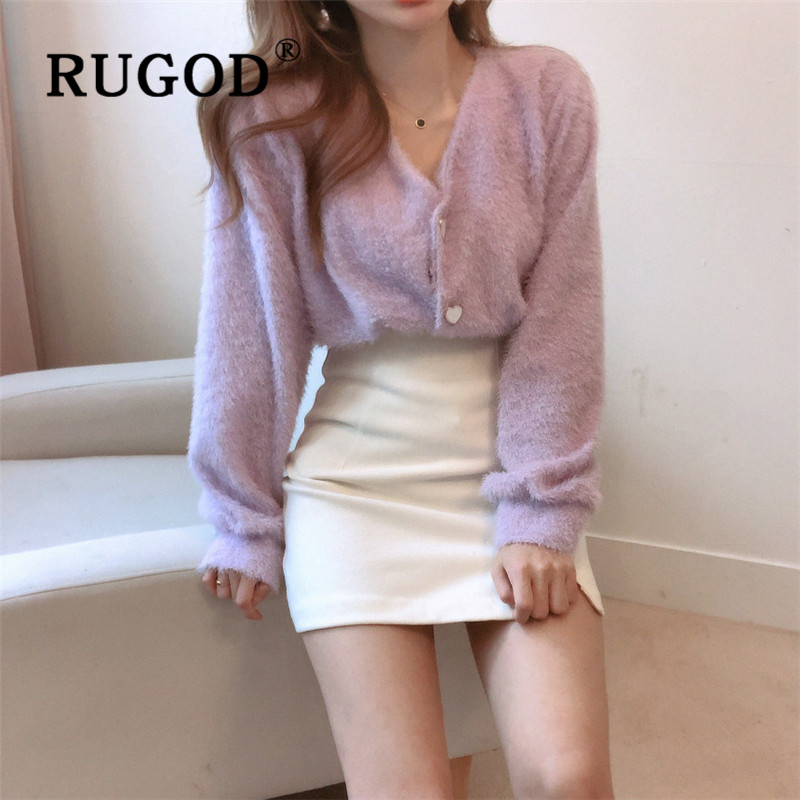 RUGOD Elegant V Neck Fluffy Cardigan Women Thick Warm Winter Cashmere Sweater Fashion Single Breasted Long Sleeve Knitted Coat