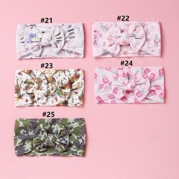 25 pzas/lote 2020 nuevo Floral estampados de camuflaje arcos ancho Nylon turbante, muestras de lazo de leopardo de impresión de Nylon diademas para niños niñas sombreros