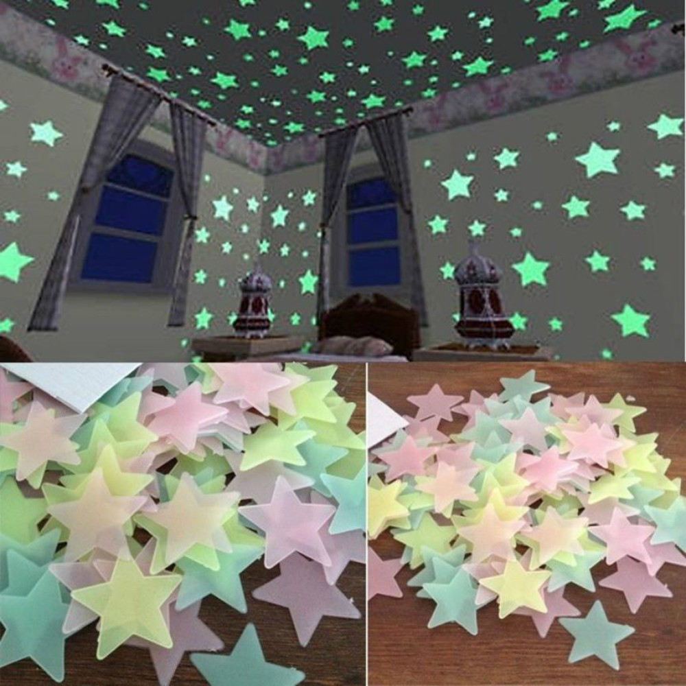 3D Home Decor Kids Bedroom Fluorescent Glow In The Dark Stars Glow Wall Stickers Stars and Moon Luminous Glow Sticker Color(China)