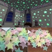 3D decoración del hogar niños dormitorio fluorescente resplandor en la oscuridad estrellas resplandor pegatinas de pared estrellas y luna brillo luminoso pegatina Color