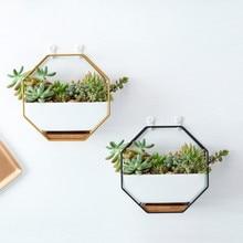 Металлический стеллаж в скандинавском стиле, белая керамическая ваза, горшок для кашпо, восьмиугольная Геометрическая настенная висящая керамическая ваза, вазы для цветов, бамбуковый поднос