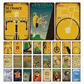 Металлический постер для велосипеда в стиле ретро, постеры с металлической пластиной для поездок на велосипеде, Франции, жестяные знаки, де...