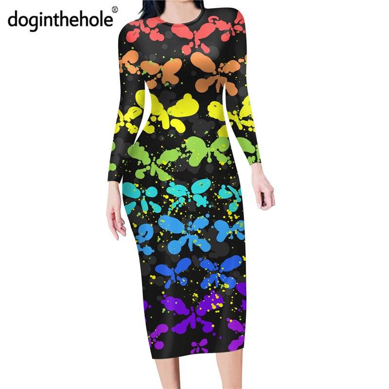 Купить doginthehole радужный узор бабочки женская длинный рукав longuette