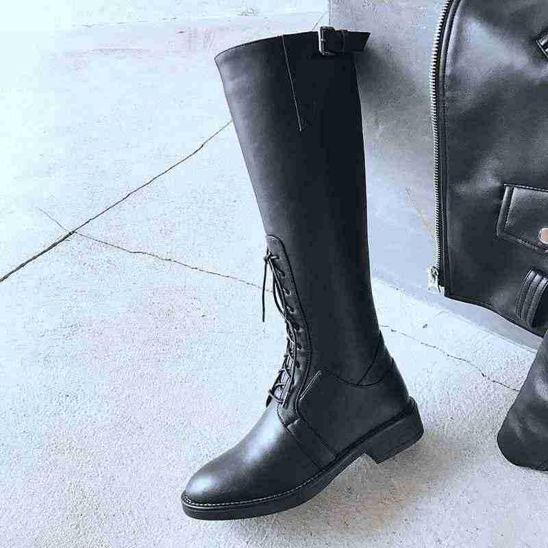 Krazing pot Kış yuvarlak ayak inek deri sıcak tutmak kalın alçak topuk modern sürme yarım lace up dekorasyon uyluk yüksek çizmeler l6f9
