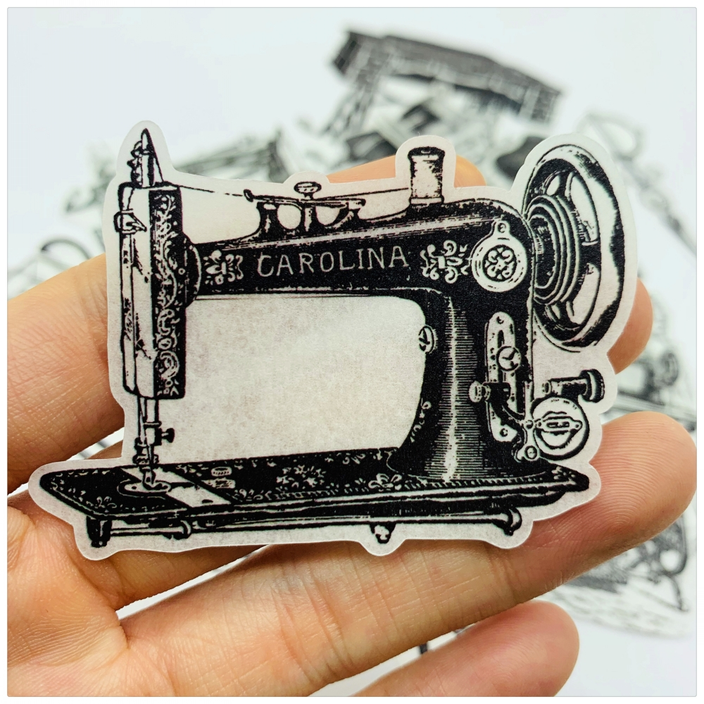 22Pcs/Bag Vintage Black White Sewing Machine Scissors Sticker DIY Craft Scrapbooking Album Journal Planner Decorative Stickers