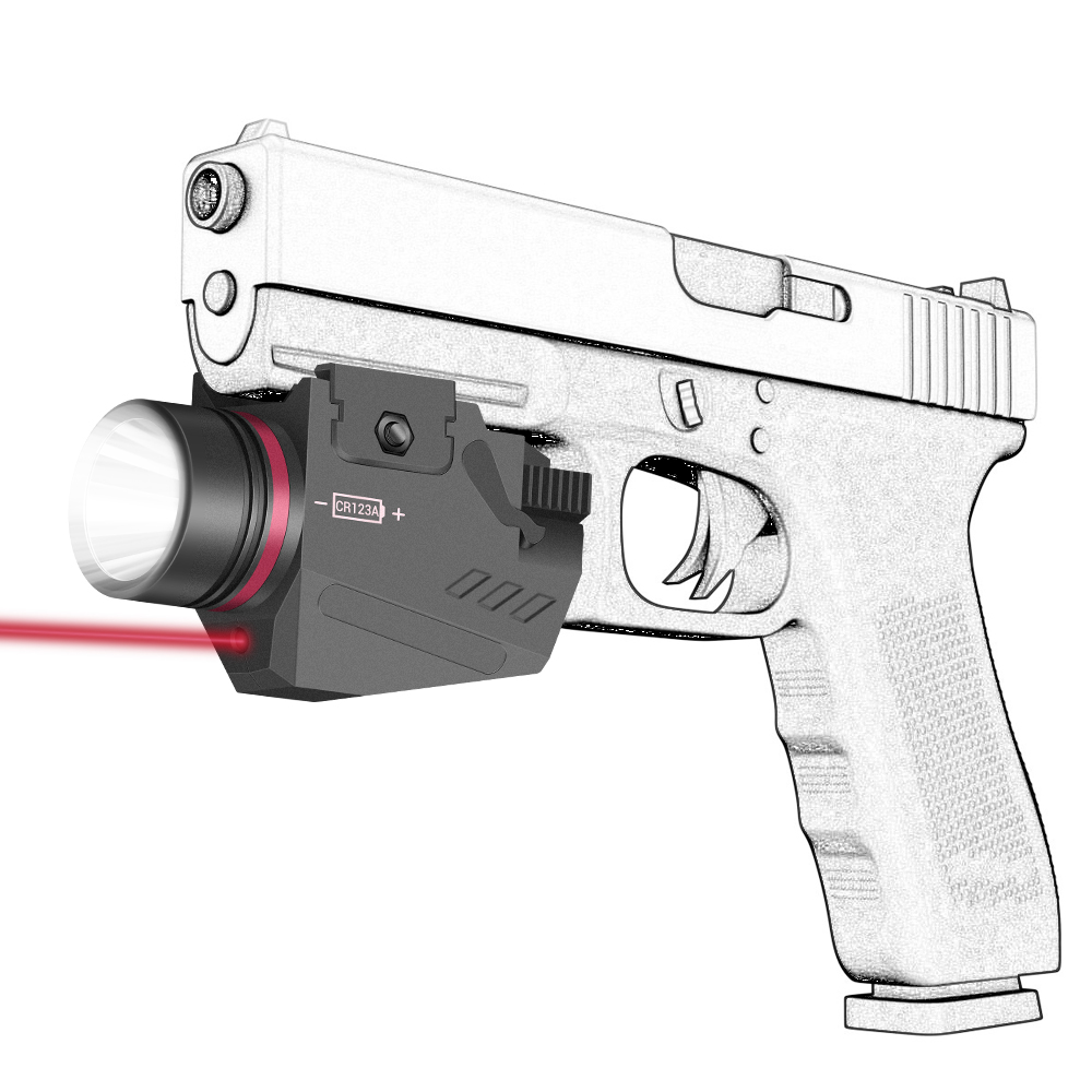 Tactical LED Gun Light Flashlight Red Laser Sight Portable Pistol Gun Light Military Airsoft Weapon Light for Hunting Shooting-0