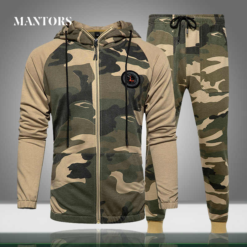 Men Sets Camouflage Casual Tracksuit 2020 Spring New Camo Jacket+Pants Sets Men's Sportswear Hooded Sweatshirt Sweatsuit Outdoor