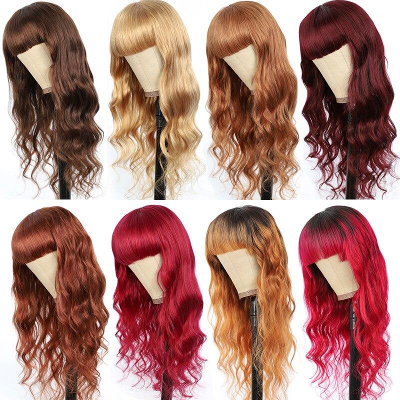 Onda do corpo perucas de cabelo humano com franja loira marrom vermelho ombre perucas de cabelo para preto mulher ijoy não-remy colorido completa máquina feita peruca