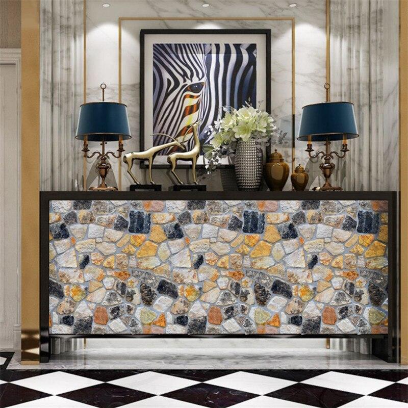 Домашний Декор 3D ПВХ деревянная Наклейка на стену s бумага кирпичная каменная настенная бумага деревенский эффект самоклеящаяся домашний д