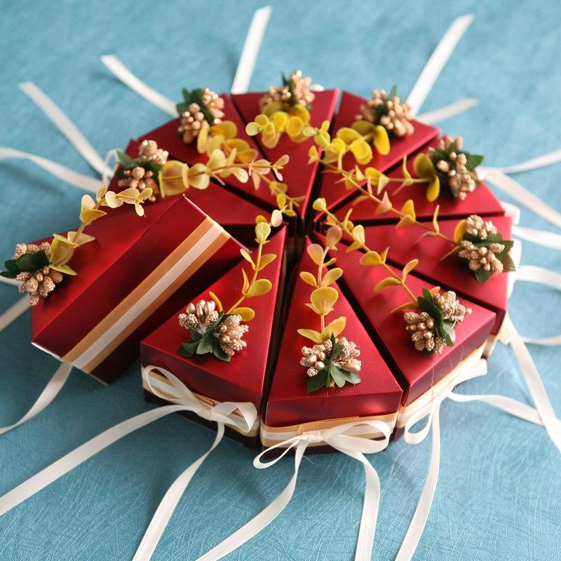 10 шт./партия коробка для хранения свадебных конфет в форме сладкого торта свадебные сувениры подарочный бумажный пакет с ленты с цветами детская коробка для конфет для душа