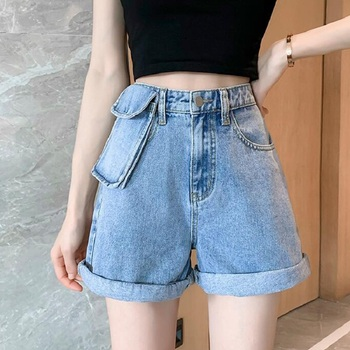 Summer Shorts For Women 2020 High Waist Slim Denim Shorts Light Blue Fashion Detachable Pocket Rolled Hem Shorts Feminino boys solid tee with rolled hem jeans