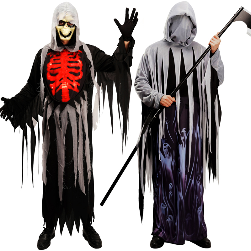 Halloween Adulto Traje Cosplay Roupas Esqueleto Fantasma Demônio Fantasma & Alma Taker Longa Túnica Roupas para Homem com Máscara Assustadora