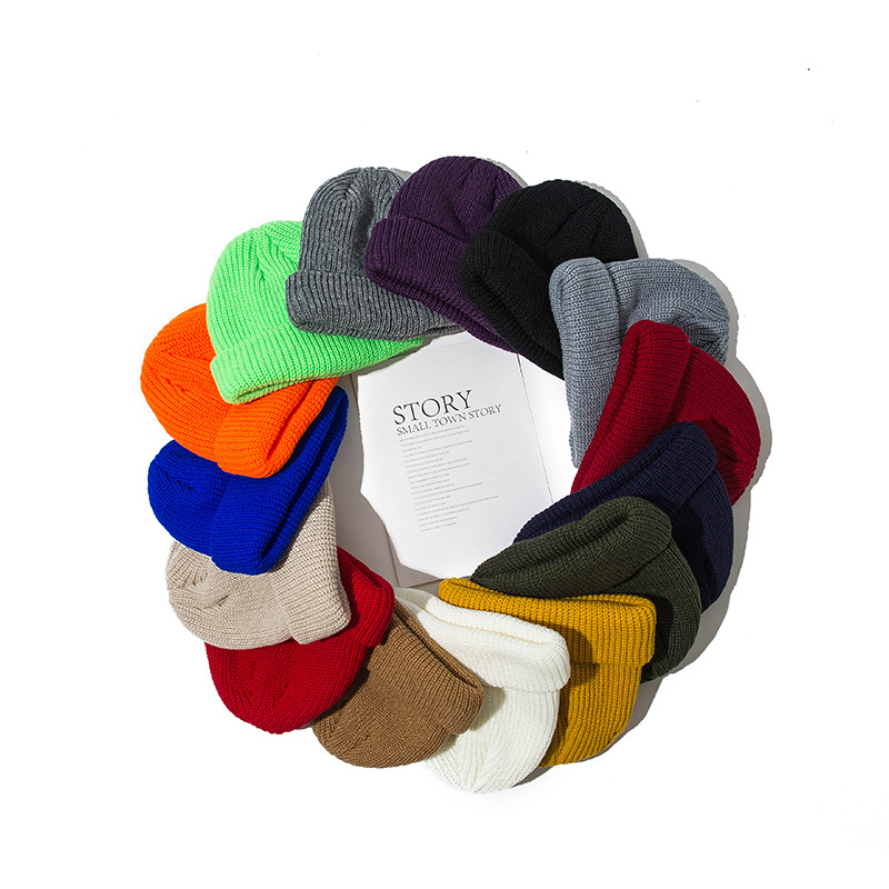 2019 Unisex Short Winter Hat Knitted Hats For Women Mens Beanies Skullies New Slough Hat Warm Cap Hip Hop Fisherman Docker
