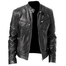2021 Autumn Men Fashion Motorcycle Leather Jacket fit Coat Casual Zipper jacket