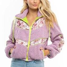 Gypsylady/фиолетовая Толстая куртка с цветочным принтом повседневная