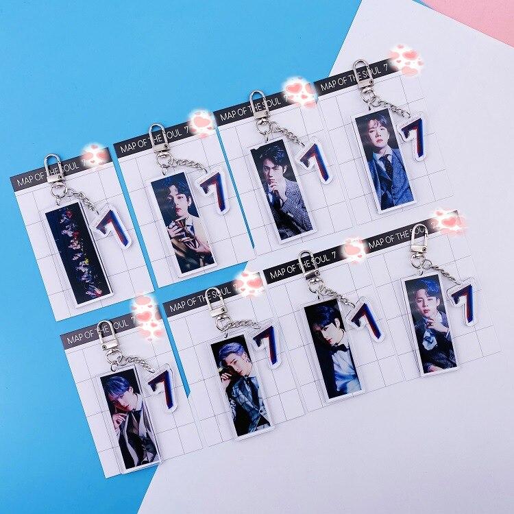 8 Pcs/lot Kpop SUGA JIMIN RM JUNGKOOK V JIN JHOPE Map Of The Soul 7 Acrylic Keychain Keyring Pendant Toy Gift