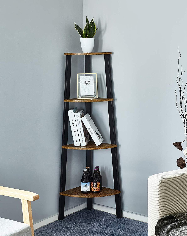 Bookshelf With 4 Tiers Corner Shelf Shelves And Storage
