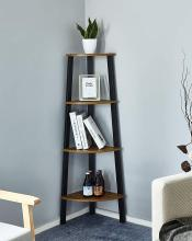 Bookshelf with 4 Tiers Corner Shelf Shelves and Storage Cabinet Industrial Bookcase Wood Furniture Living Room Storage Organizer