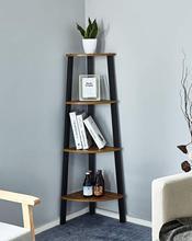 Bookshelf with 4 Tiers Corner Shelf Shelves and Storage Cabinet Industrial Bookcase Wood Furniture Living Room Storage Organizer