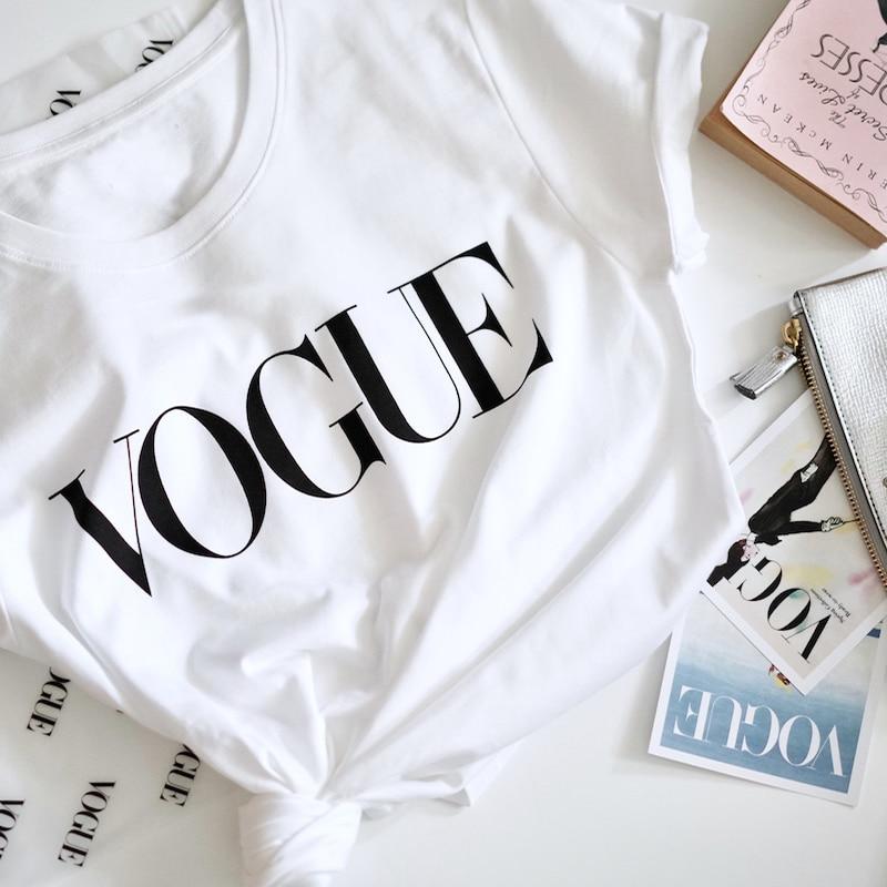 >Summer New <font><b>2020</b></font> Fashion T shirt Women VOGUE letter print Harajuku Tshirt O-neck Short Sleeve T-shirt White Tops <font><b>Female</b></font> <font><b>Clothing</b></font>