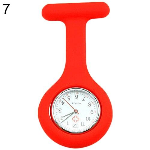 Модные повседневные женские часы Fob, милые силиконовые часы, часы для медсестры, брошь Fob, туника, кварцевые часы с механизмом, медицинские часы, reloj de b - Цвет: Красный