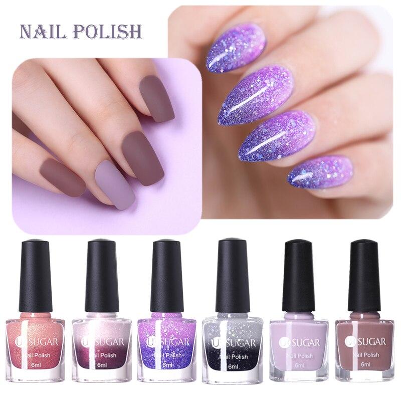 UR SUGAR 6 ML Colors Glitter Nail Polish Temperature Color Changing Gradient Mirror Nail Varnish No Need Lamp For Nails Art