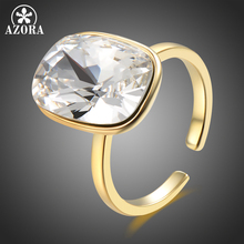 AZORA Women Big Ring for Femme Wedding Engagement Rings Clear Crystal Zircon Stone Rings Girls Gift Vintage Jewelry bague TR0242 meaeguet gold color luxury paved crystal engagement ring for women stainless steel big statement ring jewelry bague femme