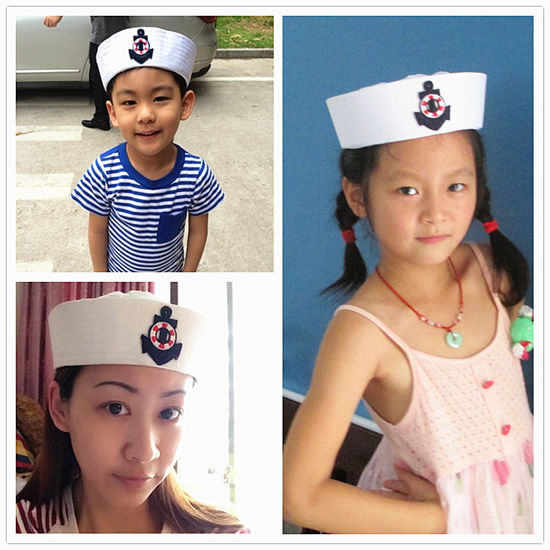Military Hats White Sailors Captain Hat Navy Marine Cap With Anchor Sea Boating Nautical Fancy Dress Nurse Hat Cosplay Adult Kid