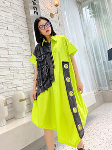 Big-Size Short-Sleeve Dress New Lapel Fit-Fashion Loose Spring Summer EAM Women Denim