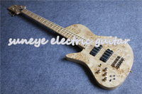 Hot Sale Natural Wood Fodera Style Electric Bass Guitar 4 String Left Handed Guitar Bass Neck Through Bass Guitar Free Shipping