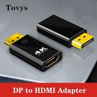 Adaptador DisplayPort a HDMI 4K macho DP a HDMI hembra, convertidor de Audio de vídeo para PC, portátil, proyector, puerto de pantalla a HDMI