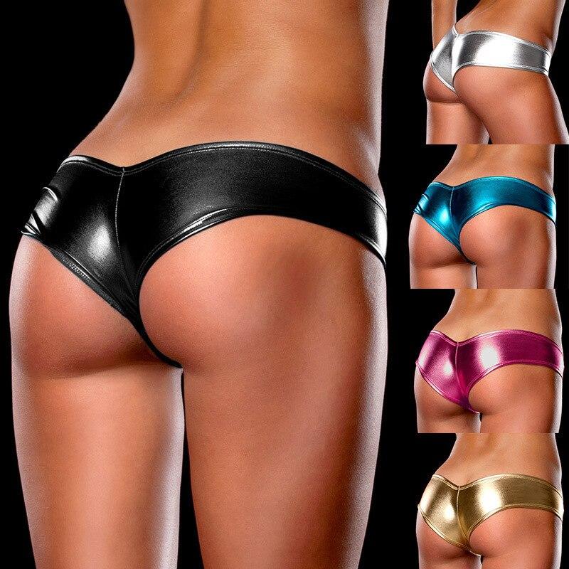Femme Seamless String Low Waist Women Panties Plus Size Sexy Women's Underwear G-String Thongs Pu Leather Womens Intimates