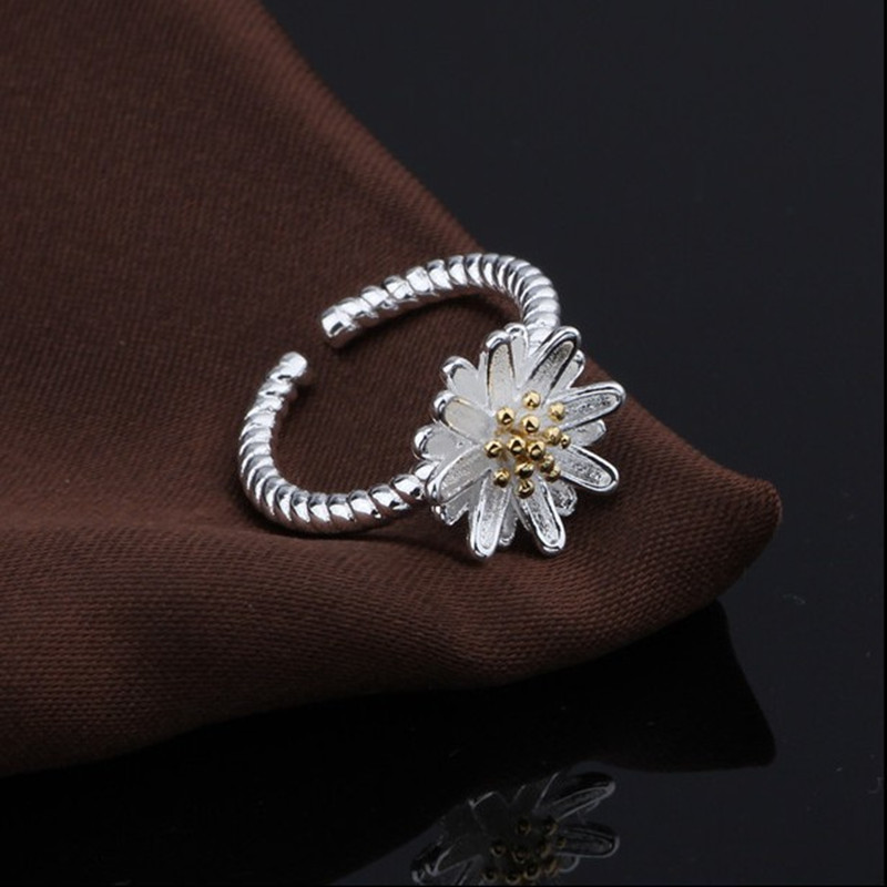 S925 Silver Korean Version Creative Chrysanthemum Opening Sterling Silver Ring Can Adjust Girlfriends Ring Fashionable Jewelry