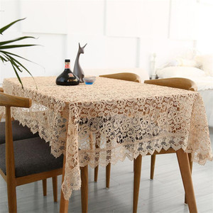 Image 4 - Proud Rose Light Coffee Embroidered Table Cloth European Lace Tea Table Cloth Home Decor Rectangular Tablecloths Table Cover