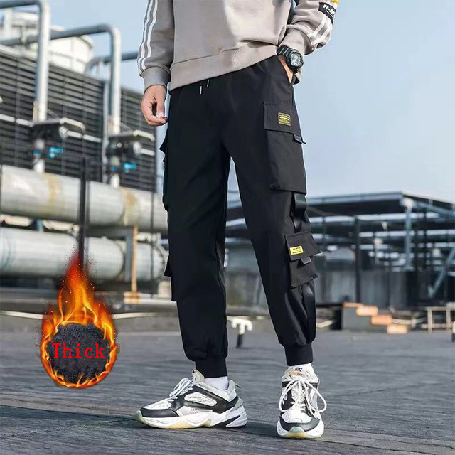Hip Hop Men Streetwear Military Pants Patchwork Pocket Side Striped Joggers Sweatpants Cuffed Ankle Length Trousers For Male 38