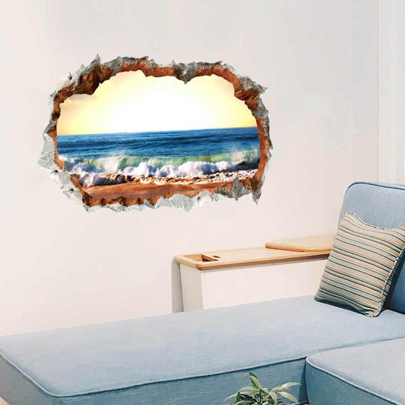 3D נשלף חלון נוף מבט מודרני קיר מדבקות PVC עיצוב הבית חוף ים חלון עמיד למים טפט 90*60cm