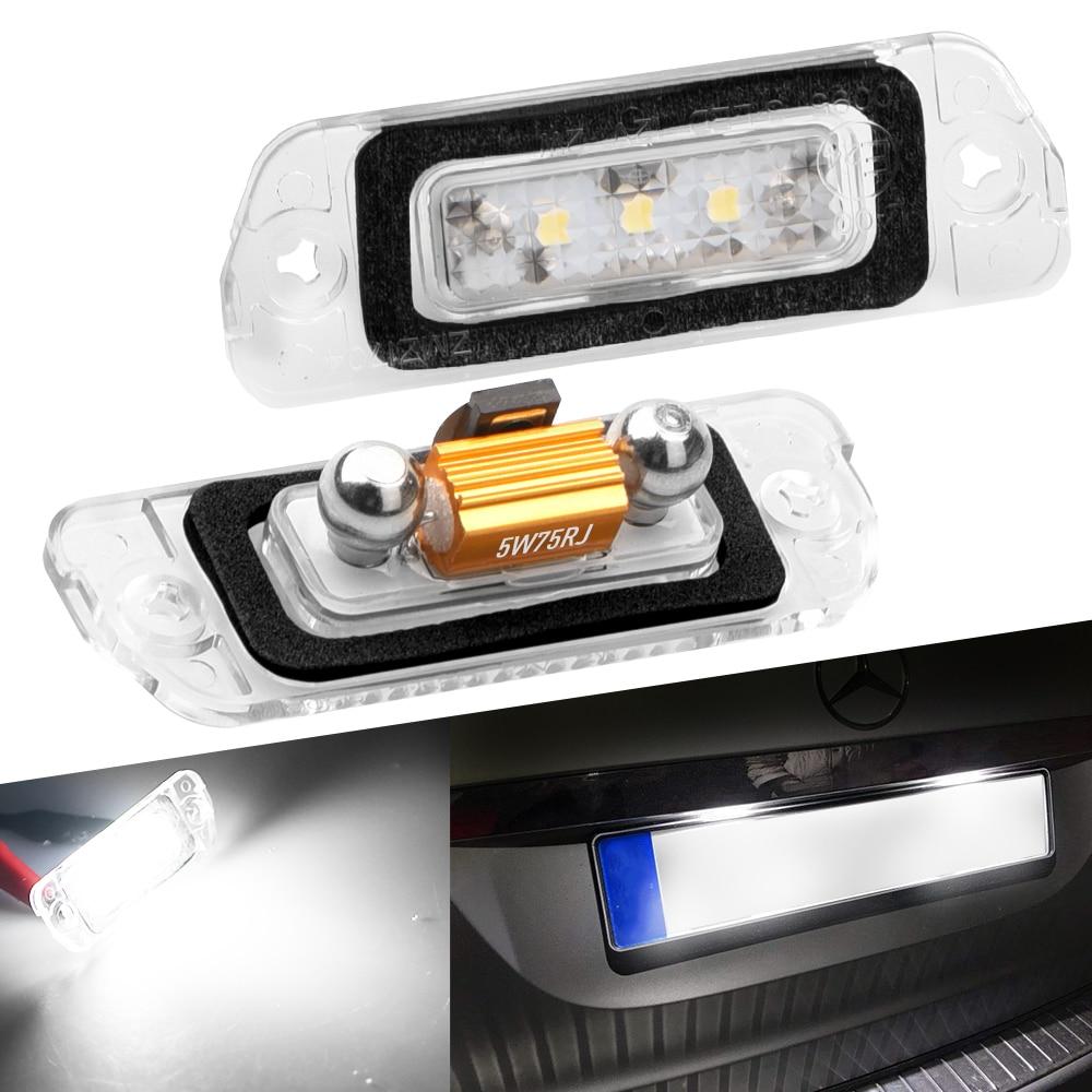 Светодиодное Освещение номерного знака 2x Canbus, без ошибок, лампа для Mercedes Benz W164 X164 W251 ML GL R, класс номерного знака, белая лампа 6000K